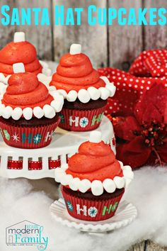 Santa Hat Cupcakes...these would be so fun to make for Christmas get togethers!