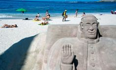 A sand statue depicting Pope Francis at Copacabana beach in Rio de Janeiro. Those who can't make the pilgrimage to World Youth Day can still get the papal indulgences by following the event on social media.