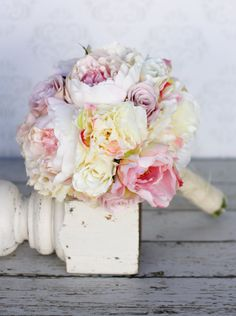Love this bouquet- thanks Kelly!!  Silk Bride Bouquet Peony Roses Shabby Chic Wedding Arrangement (item F10648). $99.00, via Etsy.