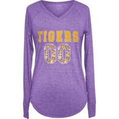 Chicka-d Women's Louisiana State University Favorite Long Sleeve T-shirt (Purple, Size Large) - NCAA Licensed Product, NCAA Women's at Academy Sports