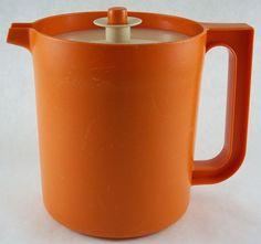 Vintage Tupperware Pitcher 1. Qt. Harvest Orange 1575-8 Push Button Lid w Seal