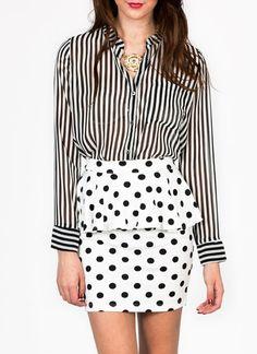 mix prints #fashion semi-sheer striped blouse $34.70