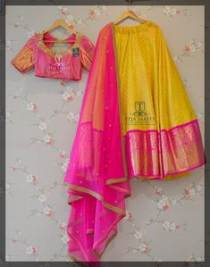Premium Yellow-pink colored lehenga at your budget Half Saree Lehenga, Lehnga Dress, Lehenga Blouse, Anarkali, Half Saree Designs, Choli Designs, Lehenga Designs, Dress Shorts Outfit, Kids Party Wear Dresses