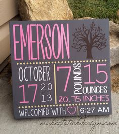 Custom Wooden Birth Announcement with Tree- Subway Art- Personalized Wall Hanging on Etsy, $30.00