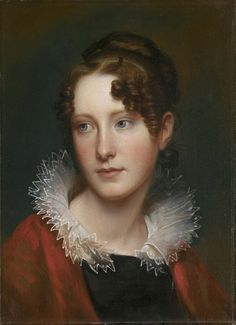 """Rosalba Peale (1799-1874) painted by her father Rembrandt Peale circa 1820. Rosalba was raised to be an independent and strong-minded woman. Author and critic John Neal wrote that """"Her mind is excellent. Her father has always taught her to think for herself, to reason, and to be firm, without wrangling or argument, in the expression of her opinions."""" Although """"Rosa"""" had many suitors, she refused to wed """"the everyday man"""" and did not marry until she was sixty-two years old."""