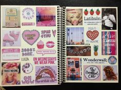 I did a new collage for my other notebook. Notebook Collage, Diy Notebook, Notebook Covers, Journal Notebook, Diy Arts And Crafts, Diy Crafts, Glue Book, Cute School Supplies, Wreck This Journal