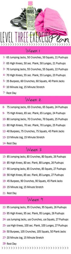 Level three exercise plan for beginners
