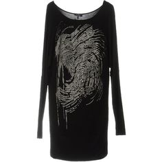 Byblos Short Dress (9.915 RUB) via Polyvore featuring dresses, black, longsleeve dress, long-sleeve mini dress, long sleeve dresses, long sleeve jersey dress и short jersey dress