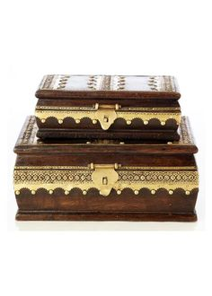 Set of 2 boxes with stunning Jhalar design in brass inlay which gives them a royal look. You will love to store your precious belongings in these designer boxes. Also, serves as a wonderful gift item. Ethnic, Decorative Boxes, Gifts, Design, Presents, Favors, Decorative Storage Boxes, Gift