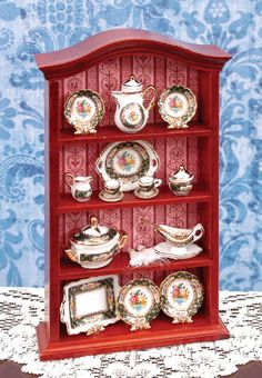 1:12th scale miniature WALL CABINET WITH ROSE PORCELAIN DISHES