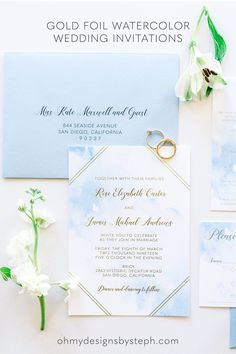 Boho Wedding Invitations - watercolor and gold foil invitations can be customized with your wedding colors!