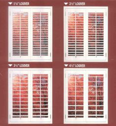 Shutter Louver Comparison Window Blinds, Window Shutters, Blinds For Windows, Window Coverings, Window Treatments, Interior, Modern, Ideas, Home Decor