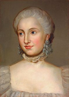 Isabella Borbone Parma, Archduchess of Austria wearing large girandole earrings. By Anton Raphael Mengs. The design has been around since ancient times, but became exceptionally large and rich during the 17th and 18th centuries. It's basic shape is a center stone or design from which three more droplets are suspended.     Princess Isabelle's huge girandole ear-pendants are probably made of diamonds set in silver-topped gold.