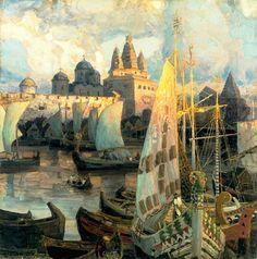catmota:  The Harbour at Novgorod Apollinary Vasnetsov (1856-1933)