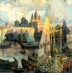 Sadko - The Harbour at Novgorod Apollinary Vasnetsov (1856-1933)