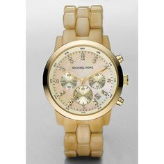 Michael Kors Ladies' Acrylic Horn Link Chronograph Watch In Gold