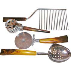 Vintage 1960's Bakelite Handle Collection of Uncommon Kitchen Utensils