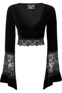 Killstar black velvet crop top with long bell sleeves with black lace cutout, plunging neckline & black lace trim at hem Gothic Fashion, Look Fashion, Fashion Outfits, Fashion Design, Fashion Weeks, Paris Fashion, Neue Outfits, Mode Streetwear, Alternative Outfits