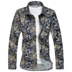 Plus Size 3D Vintage Paisley Print Long Sleeve Shirt ($24) ❤ liked on Polyvore featuring men's fashion, men's clothing, men's shirts, men's casual shirts, mens long sleeve casual shirts, mens vintage shirts, women's plus size shirts, mens extra long sleeve shirts and mens long sleeve shirts