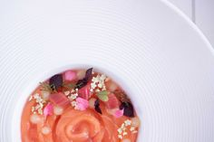 Raw Salmon with Rhubarb Eatable Flowers, Raw Salmon, Soup Plating, Hand Blender, 200 Calories, The Dish, Starters, Main Dishes, Cooking