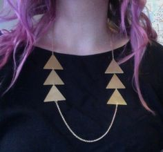 Triangle statement necklace, Triple triangles times two necklace.   http://www.etsy.com/shop/littlepancakes  $37.00, via littlepancakes on Etsy.