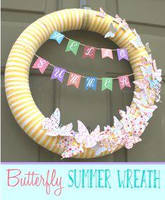 Home. Made. Interest. | Simple Butterfly Summer Wreath | http://www.homemadeinterest.com