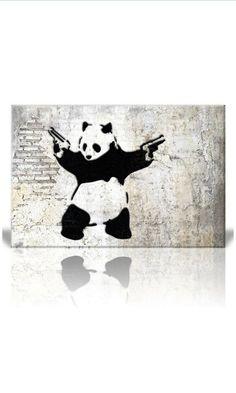 """- """"Stick'em up"""", Banksy Artwork - Panda Bear with Handguns - Banksy Artwork, Banksy Graffiti, Graffiti Wall Art, Cheap Canvas Art, Canvas Wall Art, Panda Painting, Blue Artwork, Graffiti Characters, Panda Bear"""