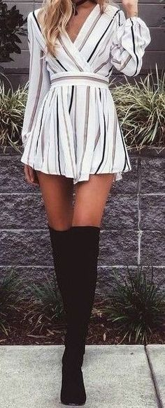 #summer #outfits / striped playsuit + boots