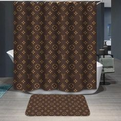 louis vuitton Supreme brown pattern Shower Curtain by SupLA Fresh. This shower curtain is made from polyester fabric and includes 12 holes at the top of the curtain for simple hanging. The total dimensions of the shower curtain are wide x tall. Louis Voutton, Best Kitchen Design, Primitive Bathrooms, Luxury Shower, Luxury Bath, Shower Curtain Rings, Custom Shower Curtains, Floor Patterns, Louis Vuitton Handbags