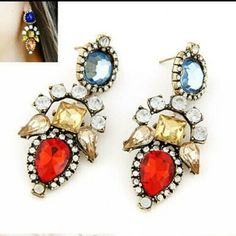 Fashion earrings Blue, tan  and red  BRAND NEW Jewelry Earrings