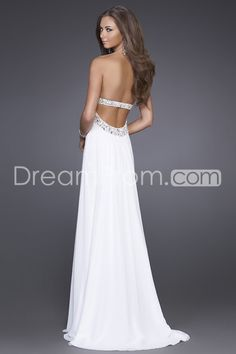 Charming A-line Floor-length Chiffon Beaded Neckline Strapless Evening Dresses (i want for prom!!!!!  )
