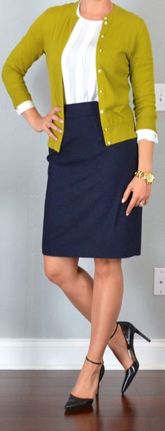 outfit post: white blouse, mustard/green cardigan, navy pencil skirt, black pointed toe heels - Outfit Posts