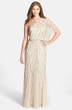 Adrianna Papell One-Shoulder Beaded Dress available at #Nordstrom