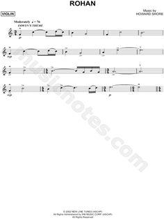 Rohan - Violin sheet music from The Lord of the Rings