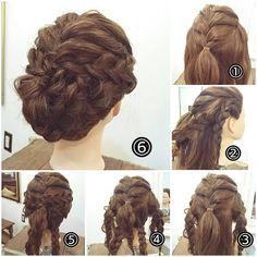 """ถูกใจ 29 คน, ความคิดเห็น 1 รายการ - nest hairsalon (@nest_hairsalon) บน Instagram: """"三つ編みアップ。 ① トップからぼんのくぼ上まで編み込みます。 ② サイドから耳後ろまでの髪を二つに分けて二本三つ編みを作ります。(三つ編みはすべて毛束をつまみだしルーズに崩しておきます) ③…"""""""