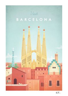 Barcelona vintage travel poster with the Sagrada Familia. Original Barcelona vintage travel poster by Henry Rivers. Buy a premium art print! City Poster, Poster S, Map Posters, Visit Barcelona, Barcelona Travel, Barcelona Spain, Plakat Design, Poster Online, Tourism Poster