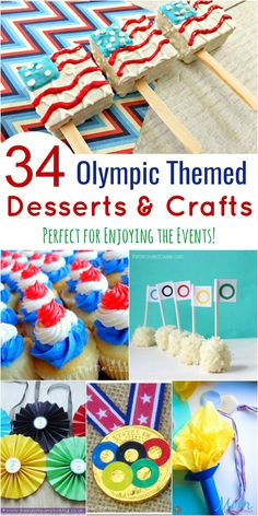 34 Olympic Themed Desserts & Crafts Perfect for Enjoying the Events! Party Food Themes, Party Desserts, Party Treats, Party Snacks, Healthy Treats For Kids, Yummy Treats, Sweet Treats, Olympic Crafts, Usa Party