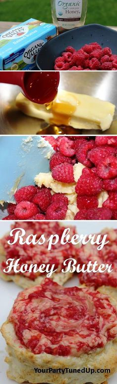 RASPBERRY HONEY BUTTER. Just three ingredients transform a biscuit or toast into a delicious blend of fresh raspberries, honey and creamy butter. Simple, quick and great for you or as a gift from your kitchen!