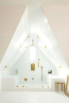 Bright, beautiful attic bath