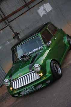 Awesome green Classic Mini Cooper monster!  .....Is that a blower..... bet it goes some!