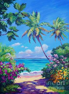 Grand Cayman Wall Art - Painting - Ocean View With Breadfruit Tree by John Clark Tree Canvas, Canvas Art, Landscape Art, Landscape Paintings, John Clark, Hawaiian Art, Caribbean Art, Seascape Paintings, Tropical Paintings