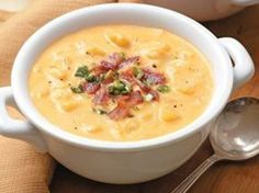 "Pinner says: Cheesy Potato Soup This is one of my go to meals that my children NEVER turn down. I have a super easy 30 minute recipe for us ""on the go"" Moms! I've been dying for some Cheesy Potato Soup(: Food For Thought, Think Food, I Love Food, Good Food, Yummy Food, Tasty, Great Recipes, Soup Recipes, Cooking Recipes"