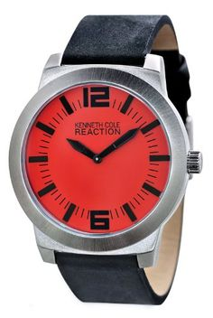 Kenneth Cole REACTION Unisex RK1284 Street Collection Red Dial Watch - http://www.specialdaysgift.com/kenneth-cole-reaction-unisex-rk1284-street-collection-red-dial-watch/
