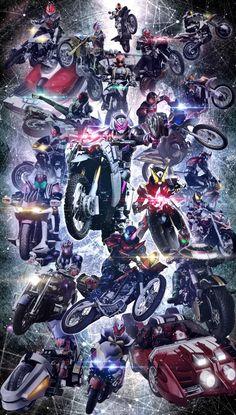 The 20 heisei era kamen riders Kamen Rider Henshin, Kamen Rider Kabuto, Kamen Rider Ex Aid, Kamen Rider Decade, Kamen Rider Series, Japanese Superheroes, Power Rangers, Gundam, Raiders