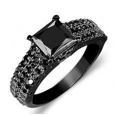 1.87 ct. Princess Cut Black Diamond Engagement Ring