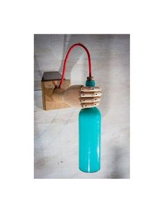 Bottle wall sconce turquoise wood lamp wall light by EunaDesigns Wood Chandelier, Wood Lamps, Recycled Lamp, Wine Bottle Wall, Lamp Inspiration, Recycled Glass Bottles, Handmade Lamps, Blue Bottle, Bottle Lights