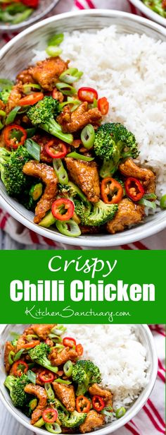 Crispy Chilli Chicken with Brocolli - Sweet, Sour, Spicy and Delicious! http://kitchensanctuary.com/2016/04/crispy-chilli-chicken-brocolli/