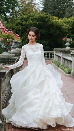 SAREH NOURI bridal fall 2016 long sleeves sweetheart illusion jewel neck a line ball gown wedding dress