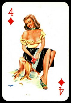 """""""Darling"""" playing card issued in the with artwork by Heinz Villiger Pop Art Drawing, Vargas Girls, Pin Up Posters, Vintage Playing Cards, Classic Image, Modern Pin Up, Calendar Girls, Rockabilly Fashion, Rockabilly Style"""