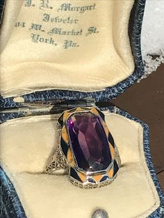 Art Deco Enamel Created Amethyst Filigree 14K White Gold Ring! Available to purchase in our store this weekend!  www.rubylane.com/shop/thevelourbox #thevelourbox #filigree #artdeco #rubylane #whitegold